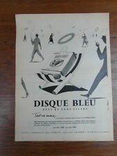 PUBLICITE PRESSE ANCIENNE VINTAGE ADVERTISING / GAULOISES DISQUE BLEU TABAC 1957