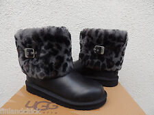 UGG ELLEE ANIMAL LEOPARD SHEEPSKIN CUFF BOOTS, YOUTH SZ 4. FITS WOMENS 6/ 37~NIB