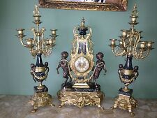 IMPERIAL HUGE ITALY BREVETATTO BRONZE MARBLE CLOCK WITH CANDELABRA SET