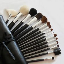Lot Of 15 Pcs Cosmetic MakeUp Brushes Set W Full Size Black Brush Bag Case New