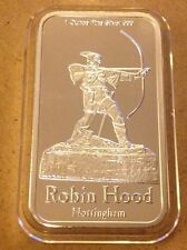 1 oz. Pure Silver 999  Bar -Nottingham Robin Hood  (.5)