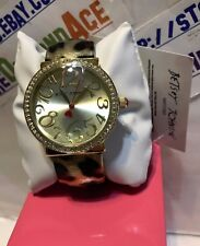 Betsey Johnson Cut Off Leopard Gold Tone Crystal Galore 37mm Watch NEW!  BJ00171