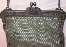 GERMAN SILVER MESH PURSE Antique Art Nouveau FLORAL ETCHED FRAME Kid Leather Lin