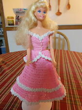 CROCHET FASHION DOLL BARBIE OUTFIT-PINK LACE-DOLL INCLUDED