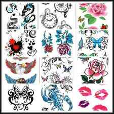 SE Precision Butterfly Rose Temporary Tattoo Ladies Body Art Sticker Black AU1