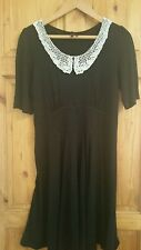 Next Black Dress With White Crochet Collar UK size 16