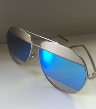 Dior Sunglasses Split Blue And Silver Aviator , Designer , mirrored Stylish