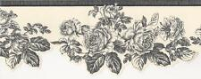 Wallpaper Border Black Line Drawing Rose Toile on Off White Die Cut Bottom Edge