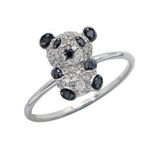 14K WHITE ROSE GOLD PAVE BLACK DIAMOND PANDA BEAR ANIMAL CREATURE COCKTAIL RING