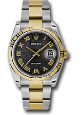Rolex Datejust 36mm Two Tone Black Dial Oyster Bracelet Fluted Bezel 116233