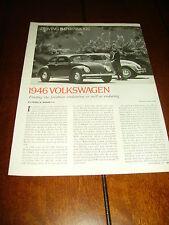 1946 VOLKSWAGEN BEETLE BUG  ***ORIGINAL 1977 ARTICLE***