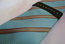 MENS NEW NWT SILK SEAN JOHN EBURY STRIPE BLUE TAN $60 NECKTIE TIE