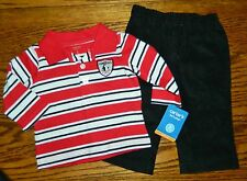 NWT CARTERS boys Black Red Stripe Polo Shirt Cords Pants OUTFIT* 6 months