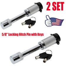 "2X 5/8"" Locking Hitch Pin with Keys and Cover Truck Trailer Receiver Security OY"