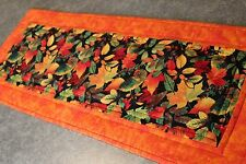 Orange Green Gold Red Leaves 30 1/2 X12  New Handmade Quilted Table Runner
