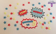 Superhero Edible Cake Topper Pow Boom Batman Superman SpiderMan ANY COLOURS