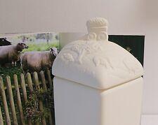 Deckeldose Heuwagen Schaf Pferd Gießkeramik Relief Vorratsdose ungewöhnlich Sell