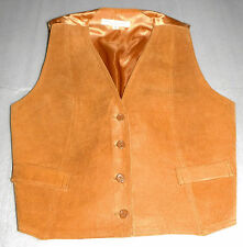 Womens Auburn Suede Leather & Satin Back Lining Vest Faux Pockets Adjustable - M