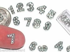 10pc Tiny Crystal Numbers charm bead necklace miniature locket floating findings