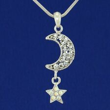 "W Swarovski Crystal Moon Star Pendant Charm Jewelry Necklace 18"" Chain"