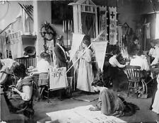 Photo. 1909-10. Member's Making Banners for Women's Suffrage