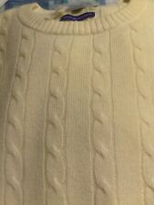 NWT Alan Flusser $278 Pale Yellow Crewneck 100% Cashmere Cable Knit Sweater Larg