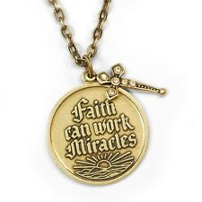 SWEET ROMANCE INSPIRATIONAL FAITH CAN WORK MIRACLES W/ CROSS NECKLACE BRONZETONE