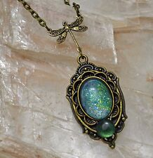 Sage Green Dragon Glass Opal Antiqued Gold Victorian Dragonfly Pendant Necklace