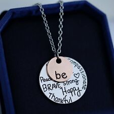 "New ""Be"" Kind Compassionate Peace Brave lettering Pendant Necklace jewelry gift"