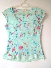 MNG, 8-10 UK, Mint Green Floral 100% cotton Top, Side Zip, LAGENLOOK BOHO QUIRKY