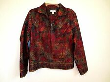Christopher & Banks Quilt Look Jacket  Red Greens Gold Zip  NWOT Size M