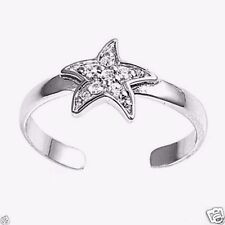 USA Seller Clear Star Toe Ring Sterling Silver 925 Adjustable Best Jewelry