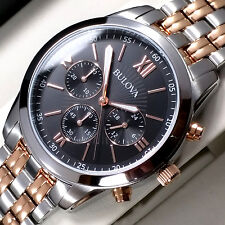 BULOVAMENS CHRONOGRAPH WATCH TWO TONE ROSE GOLD S-STEEL 98A153 NEW RRP £249