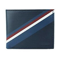 NEW TOMMY HILFIGER BLUE/GREY LEATHER ID DOUBLE BILLFOLD CREDIT CARD MEN'S WALLET