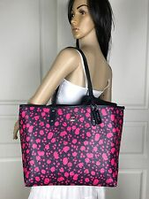 NWT COACH HOT PINK FLORAL NAVY BLUE LEATHER REVERSIBLE SHOULDER TOTE BAG PURSE
