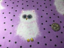 Fabric Owls Fluffy White on Purple Flannel by the 1/4 yard BIN