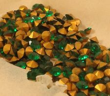 144 vintage emerald green glass machine cut pointbk rhinestones SS41 8.7mm Czech