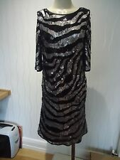 LADIES NEXT BLACK & SILVER SEQUINNED DRESS SIZE 12 UK
