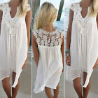Women Summer BOHO Sleeveless Party Tops Ladies Loose Beach Lace Floral Dress