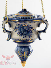 Porcelain Gzhel Censer Thurible for Incense gold plated handmade in Russia