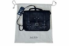 Jack Wills Ladbroke Soft Leather Satchel Bag Navy BNWT RRP £298 Made In England