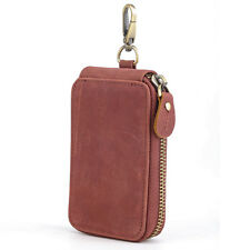 Luxury Unisex Leather Belt Key Holder Case Credit Card Bag Wallet Zip Aound