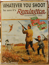 Remington Gun Bird Pheasant Vintage Hunting Picture Tin Sign Rustic Cabin Lodge