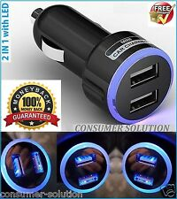 Mini USB Dual Port 12V Universal In Car Charger Adapter - Black with LED Ring