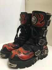 BX41 New Rock Reactor Leather Red Flame Demon Black Biker Goth Boots Size 4 37