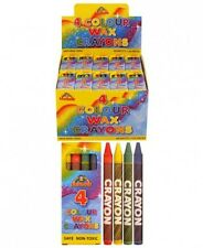 NEW 10 Pack Colour Wax Crayons 4 Color Per Pack Children Crafts Party Bag Filler