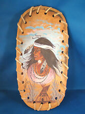 Original Hand Painted On Wood Bowl Native American Indian Woman Signed @C