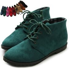 ollio Womens Ballet Flat Classic Oxford Lace Ups Zip Faux Suede Multi Shoes