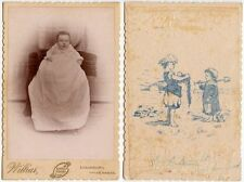 INFANT ON POSING STOOL BY WILLIAR LOUISBURG KANSAS ILLUSTRATION ON BACK CAB CARD