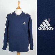 VINTAGE 90's ADIDAS SWEATSHIRT SWEATER JUMPER DARK BLUE V-NECK RENEWAL L